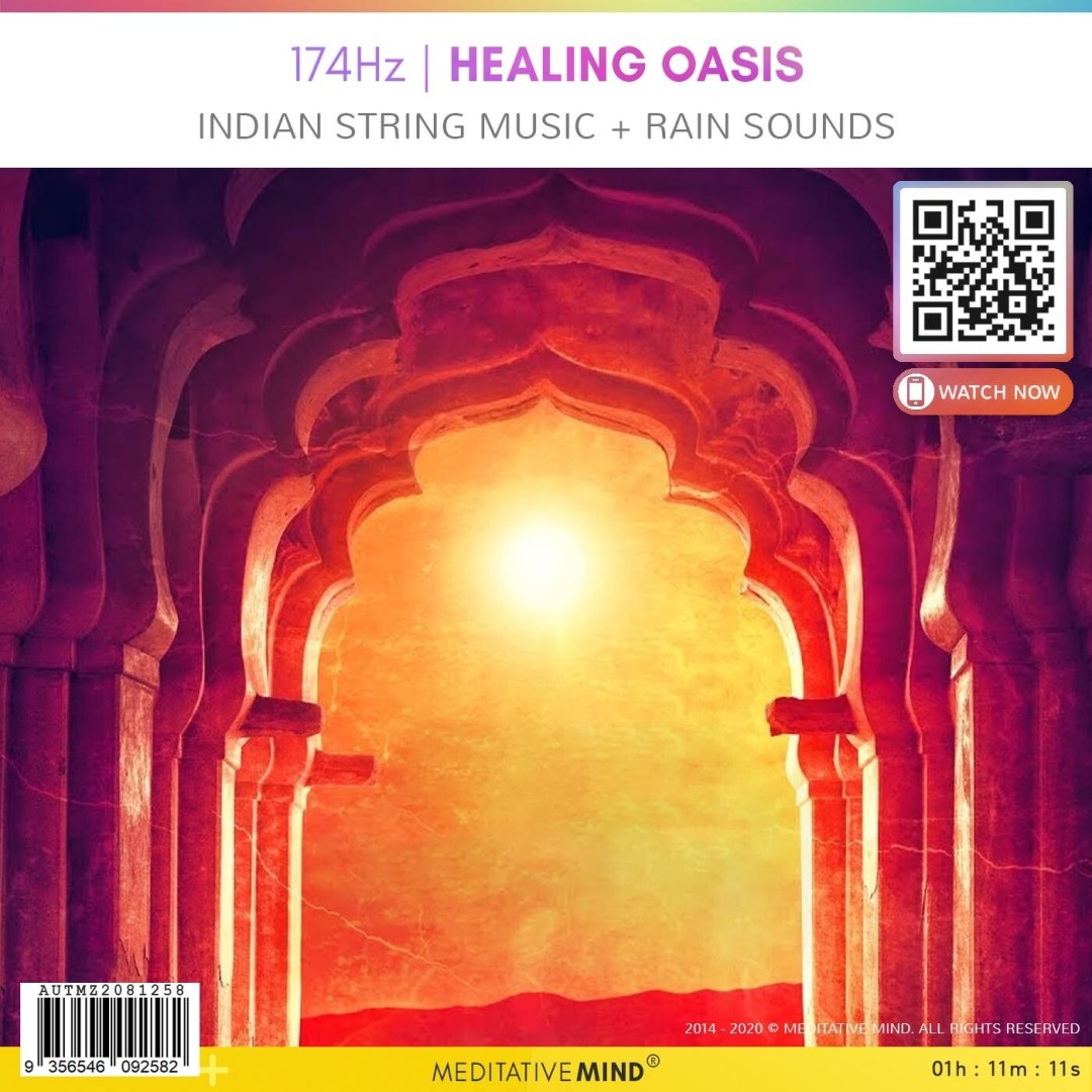 174Hz   HEALING OASIS - Indian String Music + Rain Sounds