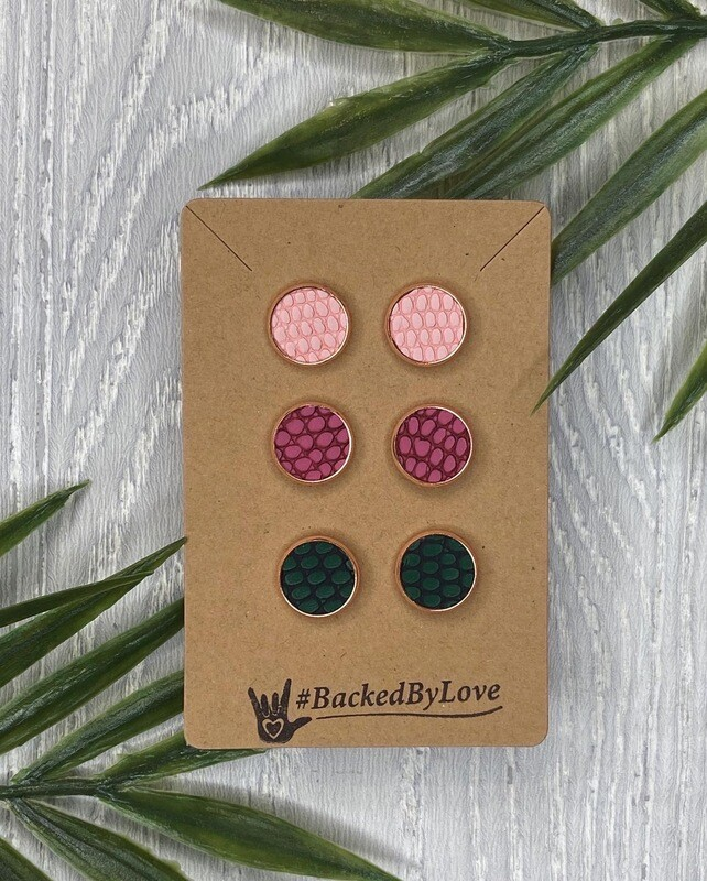 Fall Leather Studs - Pink/Maroon/Green