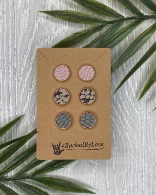 Fall Leather Studs - Pink/Snakeskin/Grey