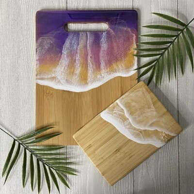 Resin Bamboo Cutting Board Set - Sunset