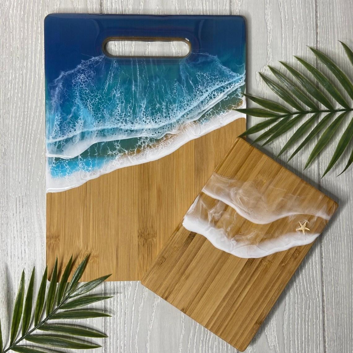 Resin Bamboo Cutting Board Set - Blue