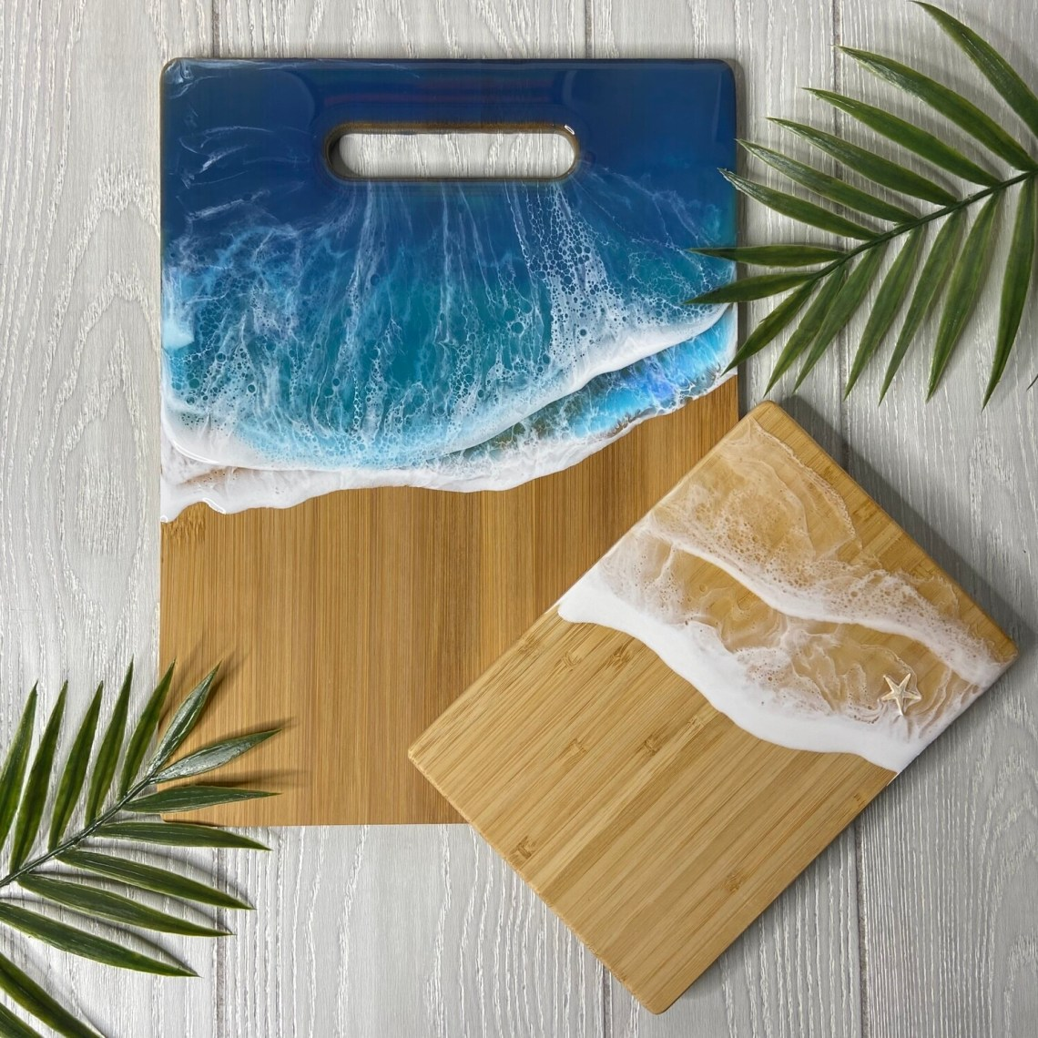Resin Bamboo Cutting Board Set - Blue/White