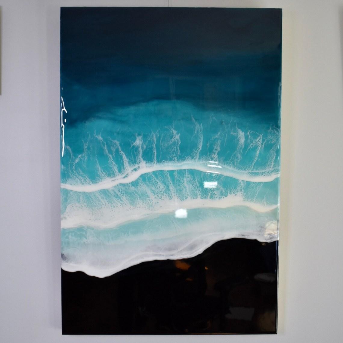 Black Sand Resin Wave Art
