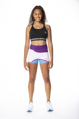 CONTROL COMPRESSION SHORT WAVE | PURPLE/WHITE/TURQUOISE WITH PINK TRIM