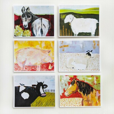 A Collection of Farm Animals- mixed box of 6 cards