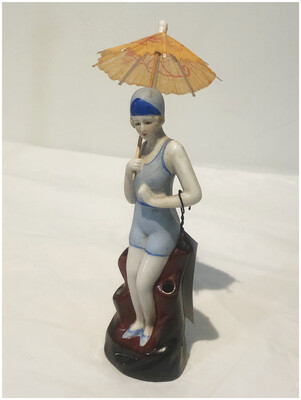 Bathing Beauty In Blue with Umbrella Vase