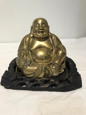Vintage Brass Laughing Buddha with Wood Stand