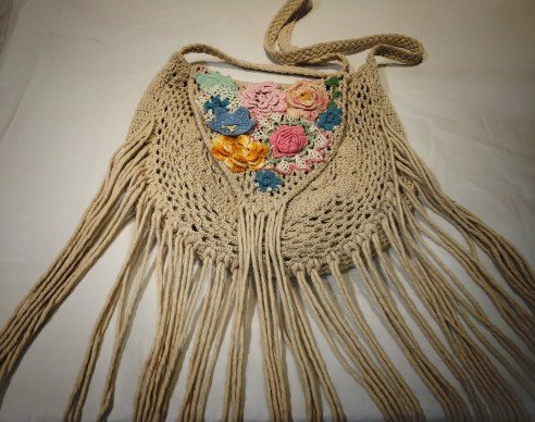 Crossbody Repurposed Fringe Knit Boho Hobo Bag
