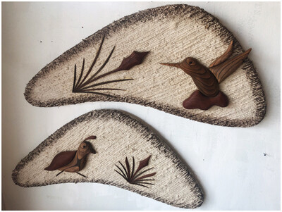 Mid Century Boomerang Fiber & Wood Wall Decor By Paul Hallowell