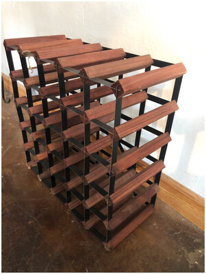 Mid Century Wood & Metal Wine Rack