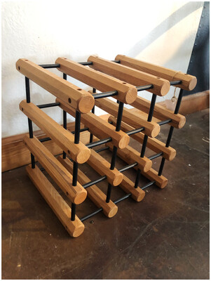 Vintage Oak & Black Spindle Modular Wine Rack