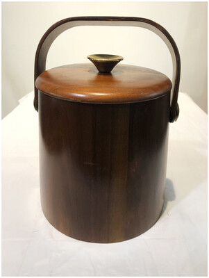 Mid Century Walnut Ice Bucket By Vermillion