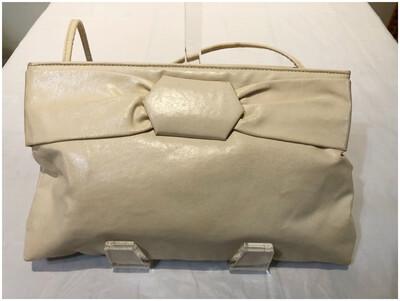 Vintage Cream Colored Leather Crossbody Handbag