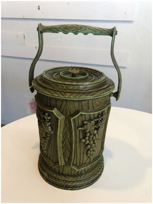 Vintage Avocado Ice Bucket With Removable Liner