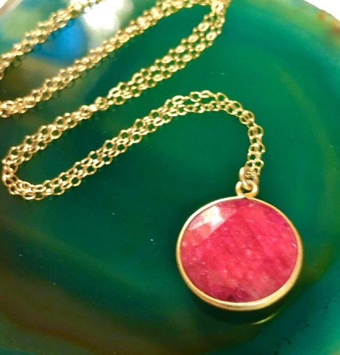 """Handmade 14kt Gold Filled Chain With Faceted Ruby Gemstone Pendant, 18"""""""