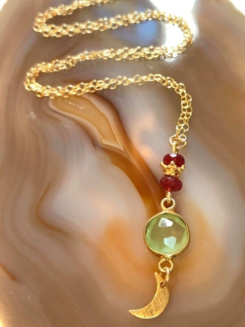 """Handmade 14kt. Gold Filled Chain With Green Chalcedony Pendant Accented With Rubies & Gold Vermeil Brushed Gold Plated Petite Crescent Moon, 18"""""""