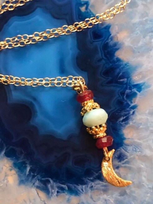 """Handmade 14kt. Gold Filled Chain With Ruby Gemstones And Gold Vermeil Accents With A Petite Brush Gold Crescent Moon, 18"""""""