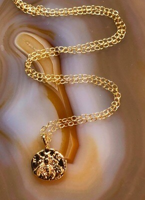 Handmade 14kt Gold Filled Chain With Embossed Honeybee Gold Plated Pendant, 18""