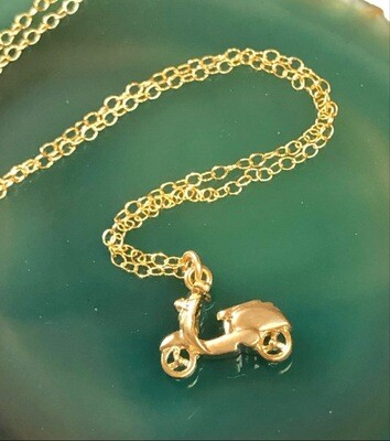 Handmade 14kt. Gold Filled Chain With Gold Plated Scooter, 18""