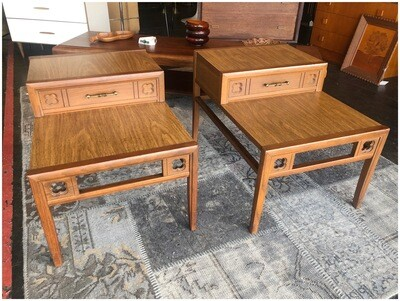 Pair of Mid Century Mersman Two Tier End Tables, Laminate Tops