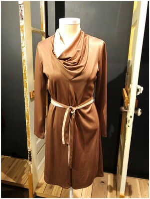 Vintage 1980's Cowl Neck Belted Dress