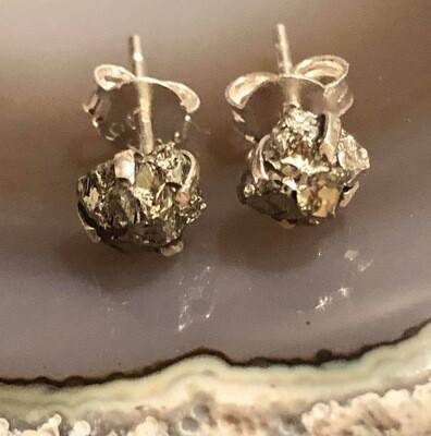 Pyrite Gemstone Sterling Silver Post Earrings