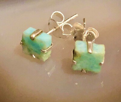 Larimar Gemstones Sterling Silver Post Earrings