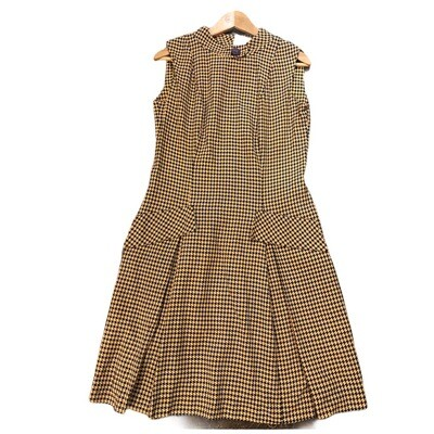Vintage 1960's Handmade Hounds Tooth Sleeveless Dress
