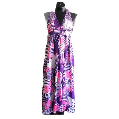 Vintage 1960's Nalli Of Honolulu Bold Print Halter Dress