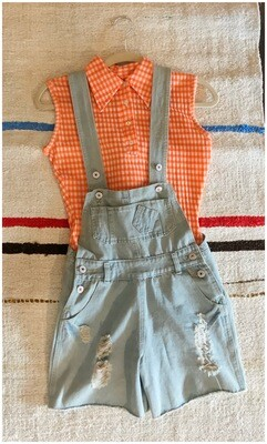 Modern Distressed Denim Overall Shorts