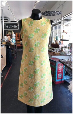 Vintage Sleeveless Daisy & Geo Print Day Dress