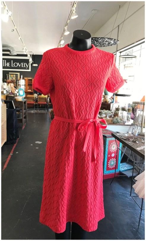Vintage Light Knit Belted Dress