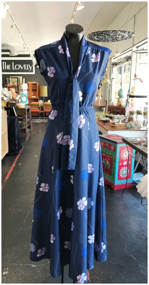 Vintage 1970's Floral Two Piece Top and Maxi Skirt Set