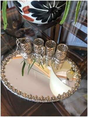 Vintage Lipstick & Mirrored Tray