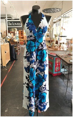 Vintage Hawaiian Halter Maxi Dress