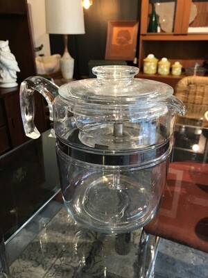 Vintage Pyrex Flameware 9 Cup Percolator with Lid, Basket and Glass Stem Insert
