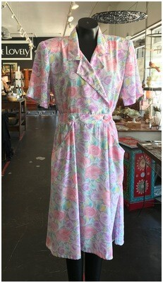 Vintage 1980's Pastel Dress with Pockets