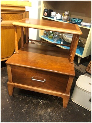 Mid Century Solid Oak Two Tiered End Table