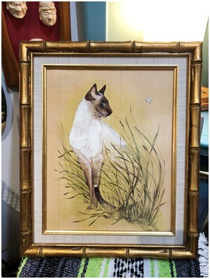 Vintage Siamese Kitty in Grass with Butterfly in Bamboo Frame