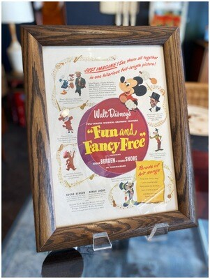 "Vintage 1947 Framed Ad Walt Disney's ""Fun and Fancy Free"" Movie"