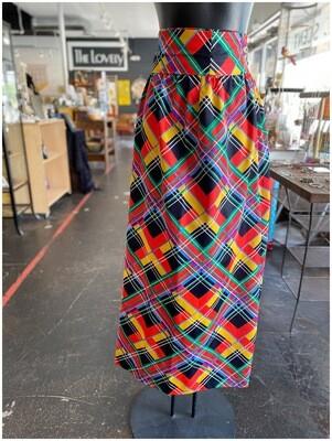Vintage 1970's Belted Print Skirt