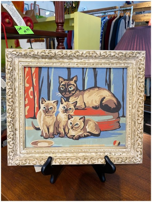 Mid Century Paint by Numbers Framed Siamese Cat Painting
