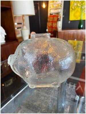 """Vintage Large 7"""" Glass Piggy Bank"""