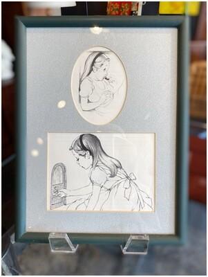 Vintage Framed Black & White Alice in Wonderland