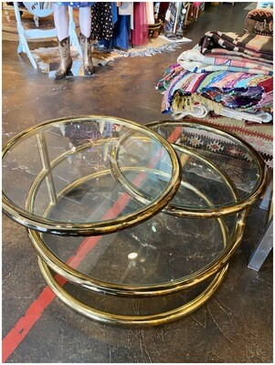 Vintage Brass & Glass Three Tier Swivel Coffee Table