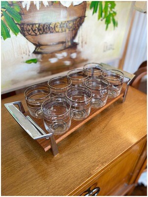 Mid Century Set of 8 Lowball Glasses in Caddy