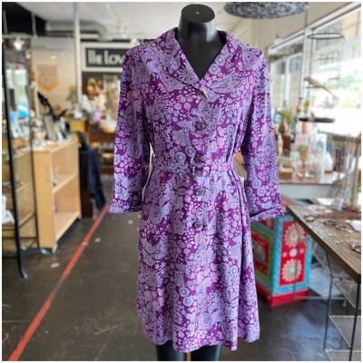 Vintage 1970's Dorothy Ward Floral Belted Smock Dress