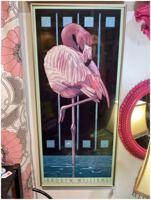 Vintage Andrew Williams Flamingo Framed Print