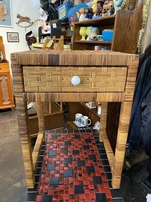 Vintage 1970's Wicker Boho End Table