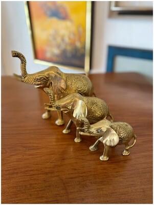 Vintage Brass Family of Three Elephants